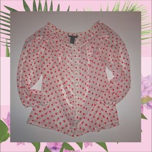 H&M: white long sleeve blouse with red polka dots